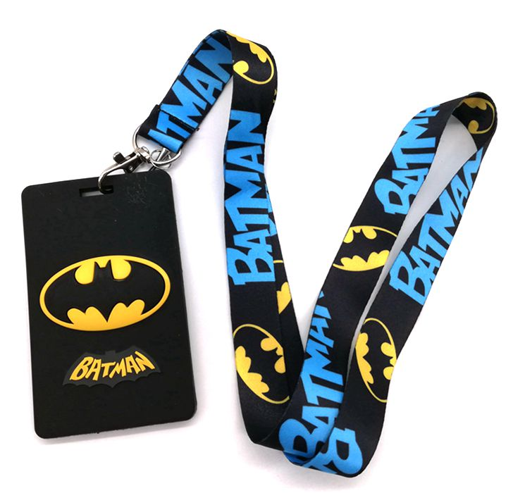 Retail 1 Pcs Cartoon Batman Card   Lanyard Key Chains Card Holders Bank Card Neck Strap Card Bus ID Holders