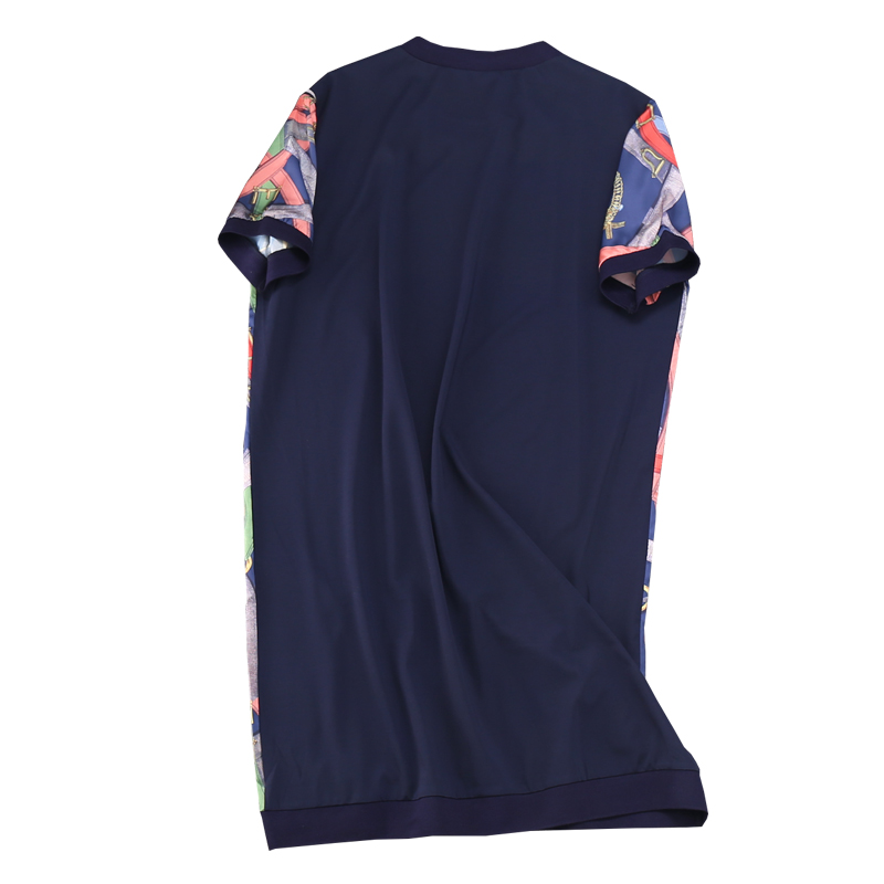 2019 New Fashion Casual A line Print Short Sleeve Appliques Knee length Natural O neck Summer Women Dress Plus Size in Dresses from Women 39 s Clothing