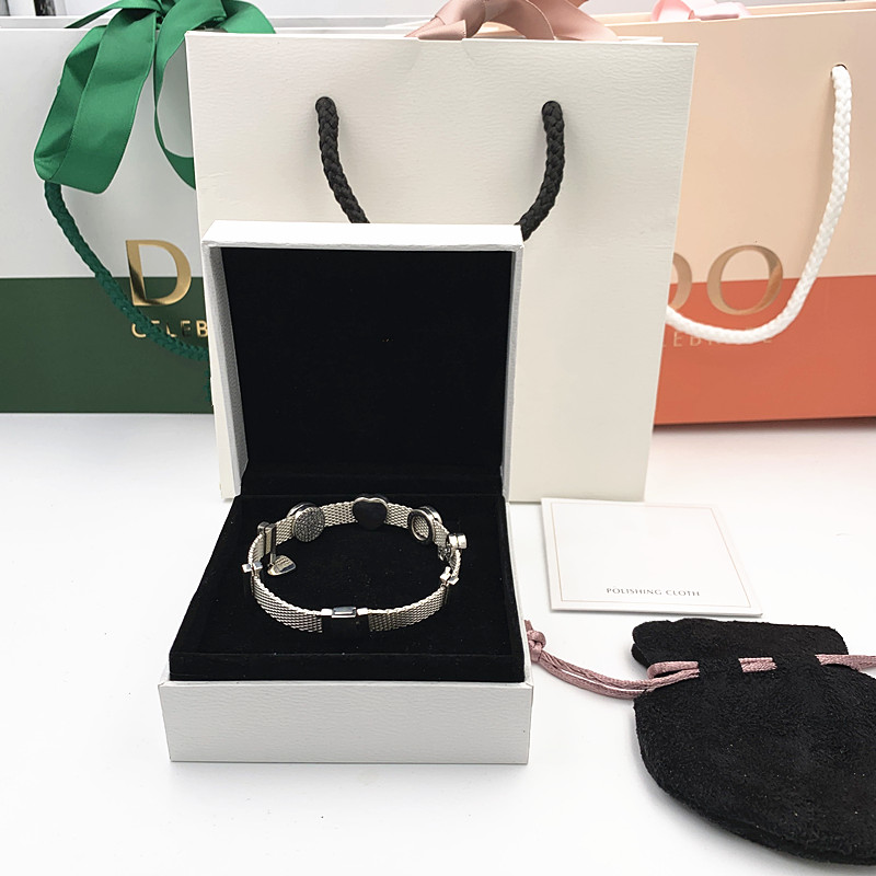 2019 Новый Шарм Выгравированы S925 серебряная цепь браслет Пандора pandoras рефлексионы браслет ювелирные изделия для женщин Рождество подарки