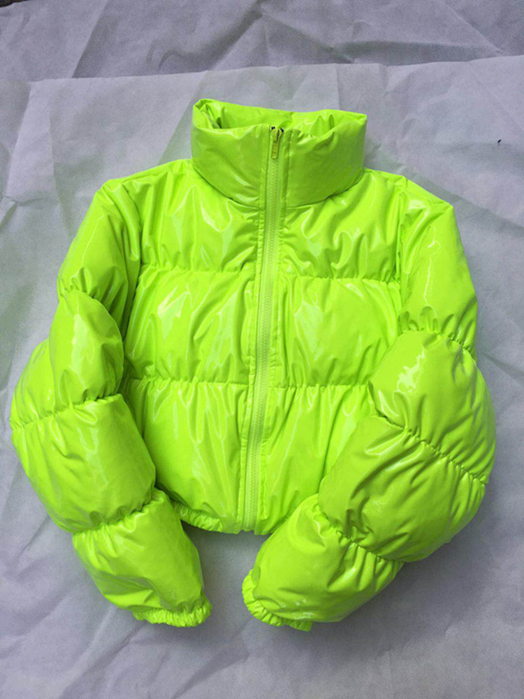 Image 3 - Bubble Puffer Jacket 2019 Winter Coat Women Lime Green Pink Yellow Red Black-in Parkas from Women's Clothing
