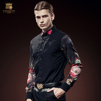 Free Shipping New Fashion Personality Male Men S Long Sleeved Mens Slim Thickened Embroidery Printing Plus
