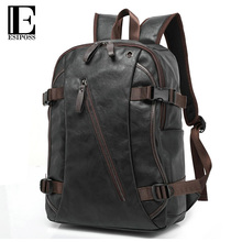 Luxury Brand Backpack Mens High Quality PU Leather Vintage Black Men Male Casual Travel Bags Backpack