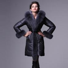 New winter down jacket women 2017 fashion luxury large fur collar long down jacket outwear female plus size T833