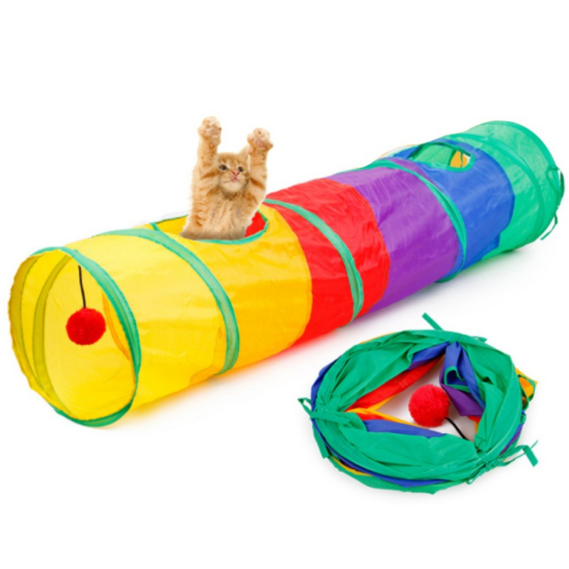 Funny Pet Tunnel Cat Play Rainbown Tunnel Brown Foldable 2 Holes Cat Tunnel Kitten Toy Bulk Toys Rabbit Play Tunnel Cat Cave