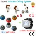 Sem fio garçom chamada sistema de restaurante chamada CE aprovado com relógio receptor K-300plus e sino ( 1 botão de chamada de 5 )