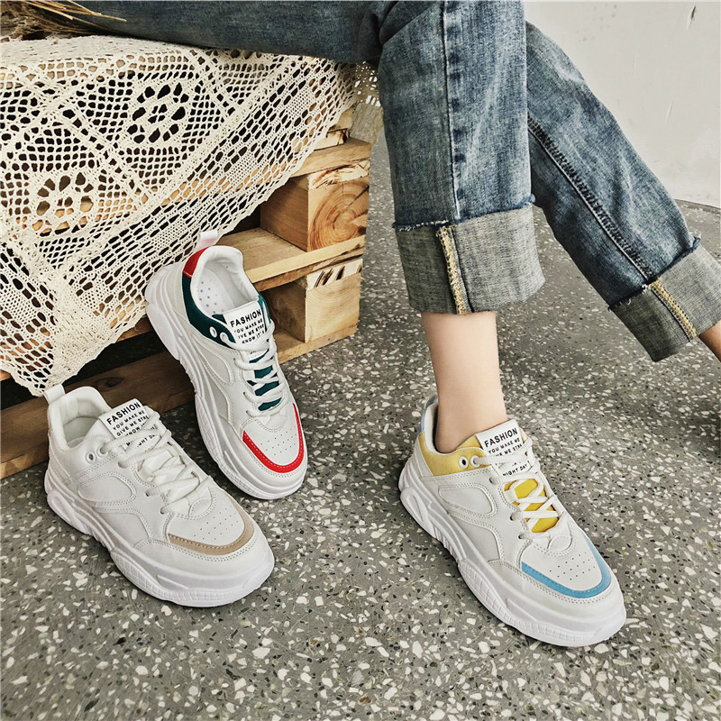 Spring Women Trainer Chic Sneakers White Lady Casual Shoes Thic Bottom 2019 Fashion Trends Lace Up High Quality Mix Color 35-40Spring Women Trainer Chic Sneakers White Lady Casual Shoes Thic Bottom 2019 Fashion Trends Lace Up High Quality Mix Color 35-40