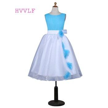Blue 2019 Flower Girl Dresses For Weddings A-line Scoop Tulle First Communion Dresses For Little Girls