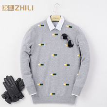 New Good quality wool sweater men genuine cashmere sweater men's 100% wool pullovers sweater free shipping