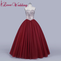iLoveWedding Ball Gown Prom Dresses Formal Tulle Sweetheart Crystal Beading Sequined Lace Up Women Party Bridal Gowns