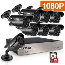 ZOSI TVI-HD 8CH 8pcs 2.0MP 1080P CCTV Security System Day Night Waterproof IR Camera Alarm Systems Security Home DIY 2TB Kit