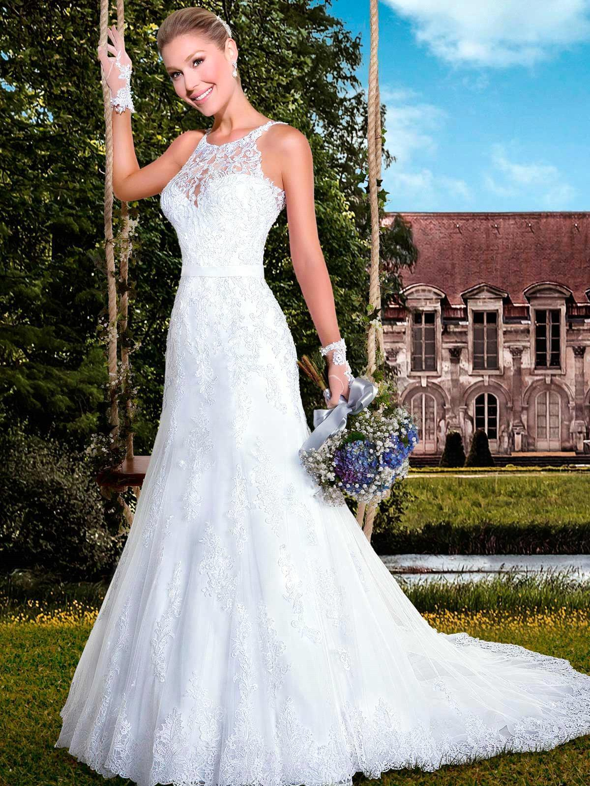 Bridal Gowns With Halter Neck : Get cheap lace halter neck wedding dresses