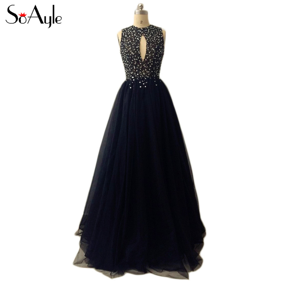 SoAyle Real Picture Vestidos de festa A-Line Evening Dresses 2017 Beading Black Hollow out Tulle Long Prom Gowns for Women