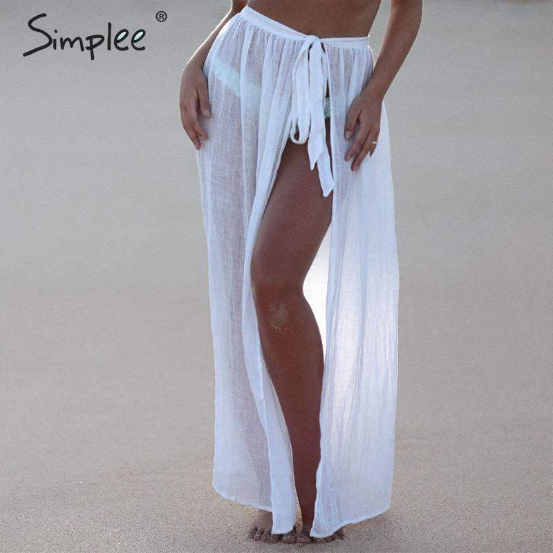 Simplee Sexy Transparent Solid Women Summer Style Cover Ups Skirts Lace Up Beach Wear Female Skirts A-line Holiday Midi Skirts