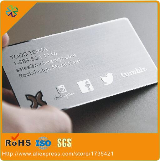 (100pcs/lot)logo Etched High Glossy Mirror Stainless Steel Metal Business Cards