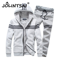 New 2016 Brand 2PCS Winter Thick Velvet Soft Warm Sweatshirt Men Set Striped Casual Hoodies Tracksuit Mens Sweatshirt Suits 3XL