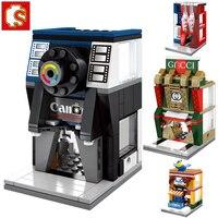 Sembo 414pcs 4 In1 Compatible Legoinglys Creative City Mini Street View Camera Shop Seafood Store Bricks
