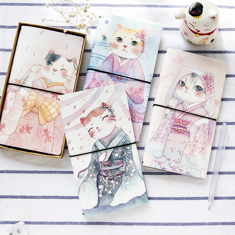 1pcs PU Leather Cover Planner Notebook Kimono Cat Travel Journal Diary Book Exercise Composition Binding Note Notepad Gift