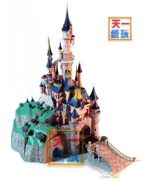 Paris Disneyland 3D modèle de papier dormant beauté château bricolage à la main modèle de papier de construction