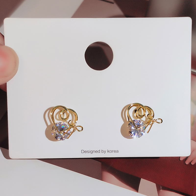 gold color stud earrings with zircon stone (3)
