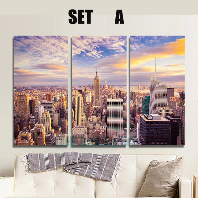 3 Pannelli New York city picture su tela dipinto Moderno picture ...