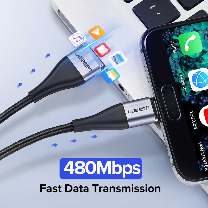 Ugreenประเภทแม่เหล็กC 3A Fast Micro USBสายชาร์จข้อมูลสำหรับSamsung Xiaomiแม่เหล็กUSB Cชาร์จโทรศัพท์มือถือโทรศัพท์สายUSB