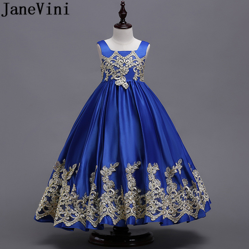 JaneVini Sukienka Komunijna Royal Blue   Flower     Girl     Dress   for   Girls   Gold Appliques Long Robe Bow Ball Gowns Kids Party   Dresses