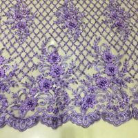 White Purple heavy beads lace fabric handmade beaded African French Lace with 3D beads on Tulle mesh checks