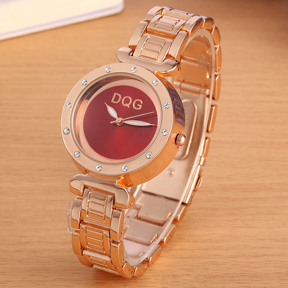 DQG New Famous Brand Ladies Gold Crystal Casual Quartz Watch Women Stainless Steel Dress Watches Relogio Feminino Clock Hot Sale 2017 new brand silver crystal casual quartz h watch women metal mesh stainless steel dress watches relogio feminino clock hot