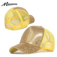 Повседневная бейсбольная кепка с конским хвостом, Женская регулируемая бейсболка, блестящая Кепка в стиле хип-хоп, s для женщин, шляпа для папы, летние блестящие сетчатые шапки