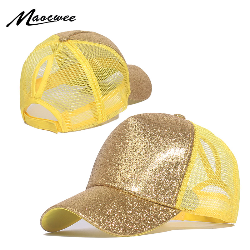 Casual Ponytail Baseball Cap Women Adjustable Snapback Hat Sequins Shine Hip Hop Caps For Women Dad Hat Summer Glitter Mesh Hats