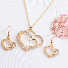 Heart Pattern Crystal Earrings Necklace Set
