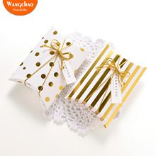 10pcs Gold Dot Pillow Packaging Boxes for Candy Cookie Wedding Birthday Party Favors Baby Shower Gift Bags with Rope&Stickers