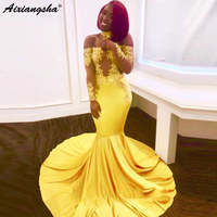 Sexy Yellow African 2018 Mermaid Long Evening Dress Appliques Slash Neck Elastic Formal Party Dress Full Sleeves Evening Gown