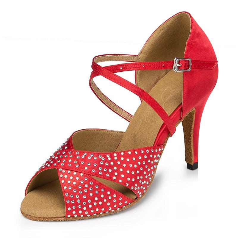Sneakers Women Ballroom Latin Dance Shoes Black Red Rhinestone Salsa Social Party Tango Dance Shoes Heels 6/7.5/8.5/10 Cm Suede Sole 1766 Good Heat Preservation
