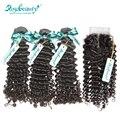 3 Bundles Brazilian Virgin Hair  Lace Closure With Edge Total 4P/Lot Brazilian Hair Weave Bundles Human Hair  With Closure