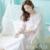 Blanco Camisón de La Princesa Del Algodón Puro Pijama Camisón de Las Mujeres de La Vendimia Del Arco Del Cordón ropa de Dormir Femenina 2017 Otoño p15003