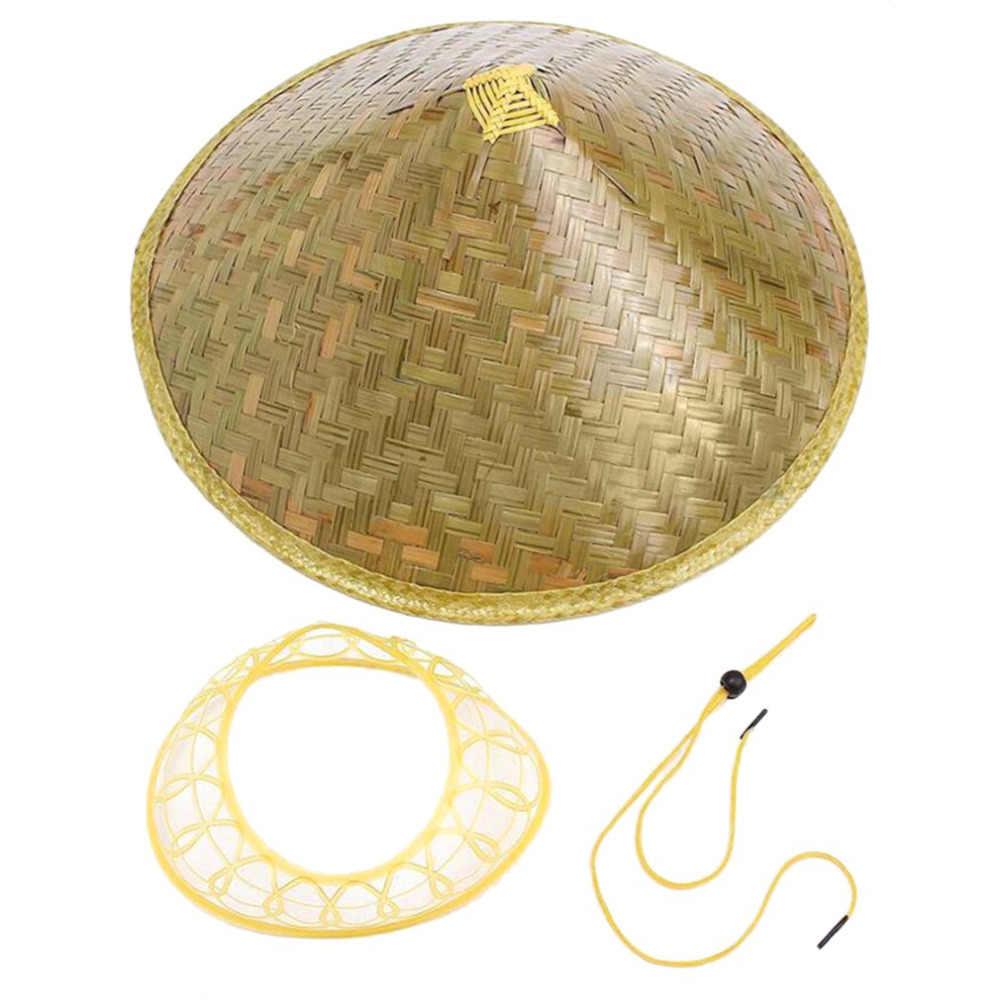134606bec57 ... Handmade Weave Straw Hat Chinese Style Bamboo Rattan Hats Steeple Tourism  Sunshade Rain Caps Fisherman Bucket ...
