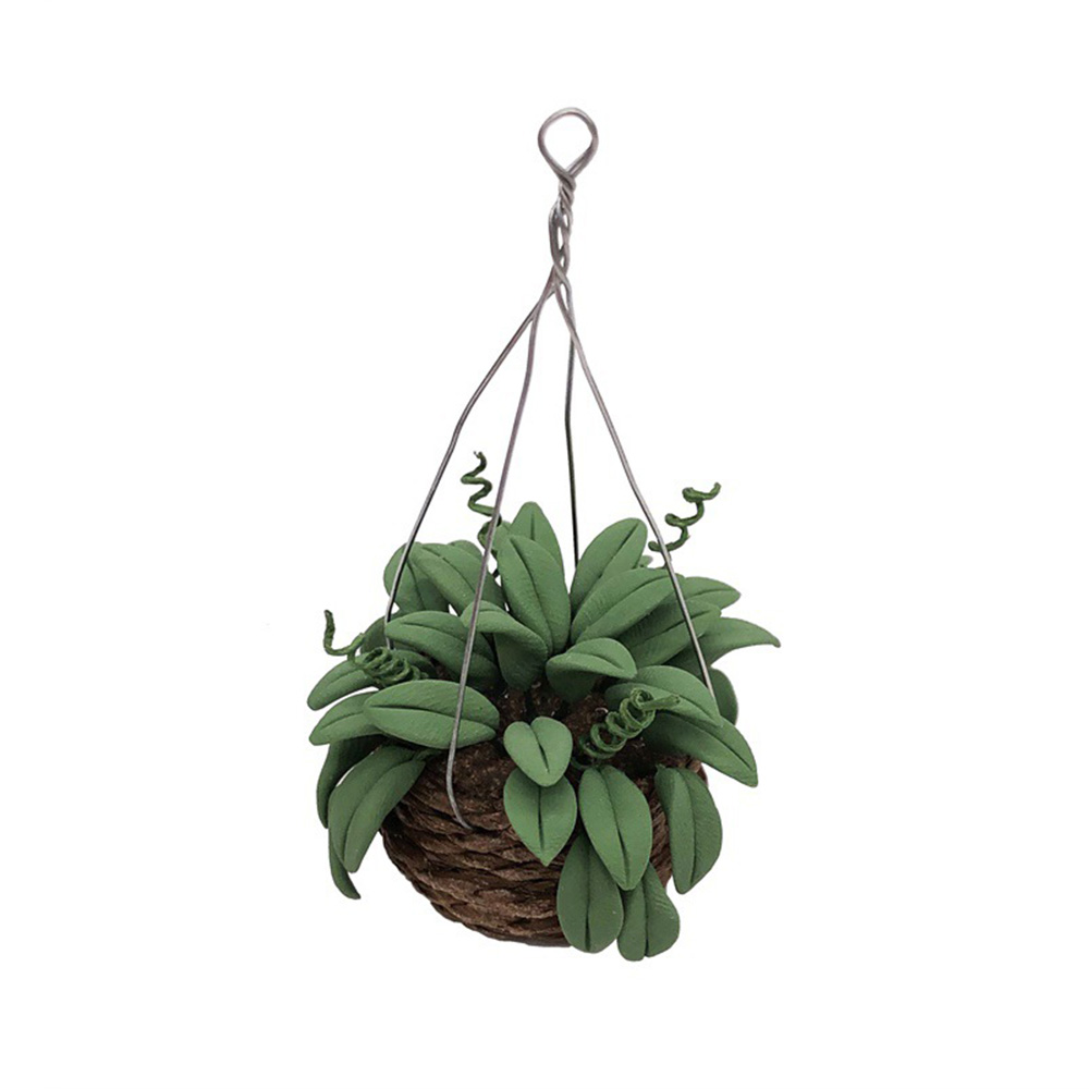1/12 Dollhouse Miniature Accessories Mini Green Potted Plant Simulation Hanging Flower Model Toys For Doll House Decoration