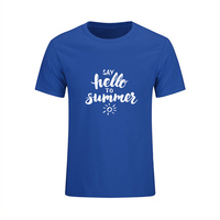 New Arrival Mens Fashion T Shirt Say Hello To Summer Letter Print Cotton Top Tees High