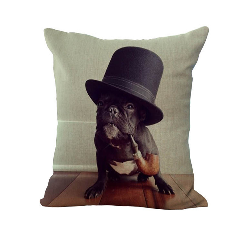 Home soft and comfortable Pillowcase with black hat and pipe bulldog dog