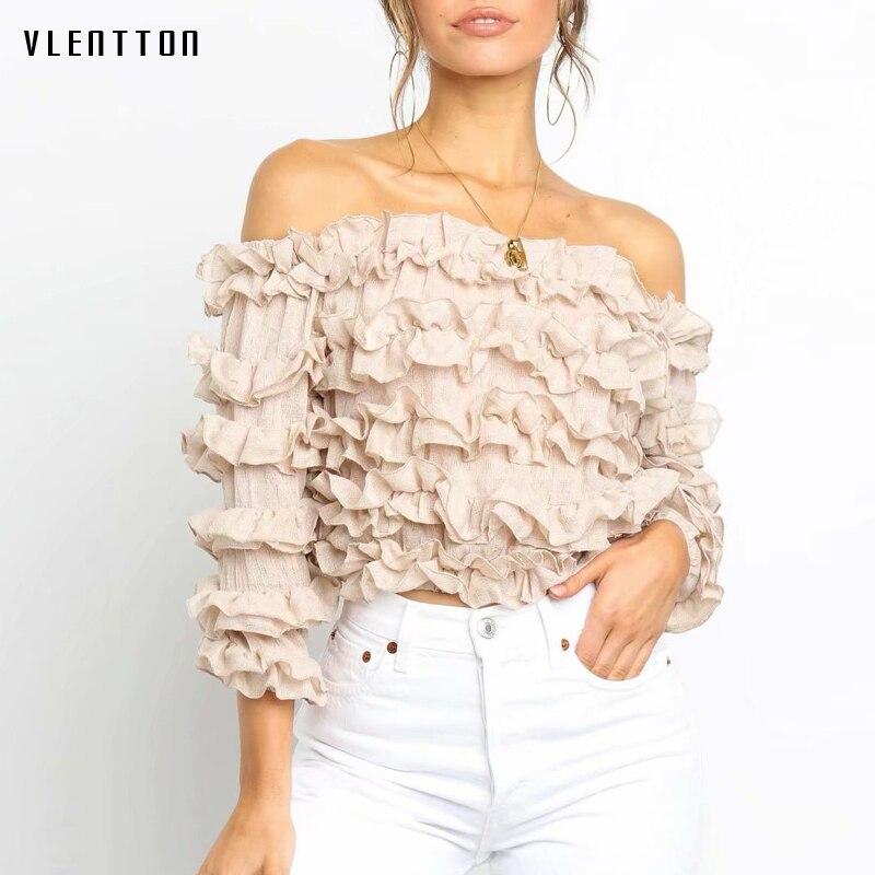 Summer Pink White Sexy Off Shoulder Blouses And Shirts Women Slash neck Ruffled Short Blouse Female Shirt Tops Blusas Camisas