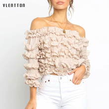 Summer Pink White Sexy Off Shoulder Blouses And Shirts Women Slash neck Ruffled Short Blouse Female Shirt Tops Blusas Camisas off the shoulder ruffled blouse for women