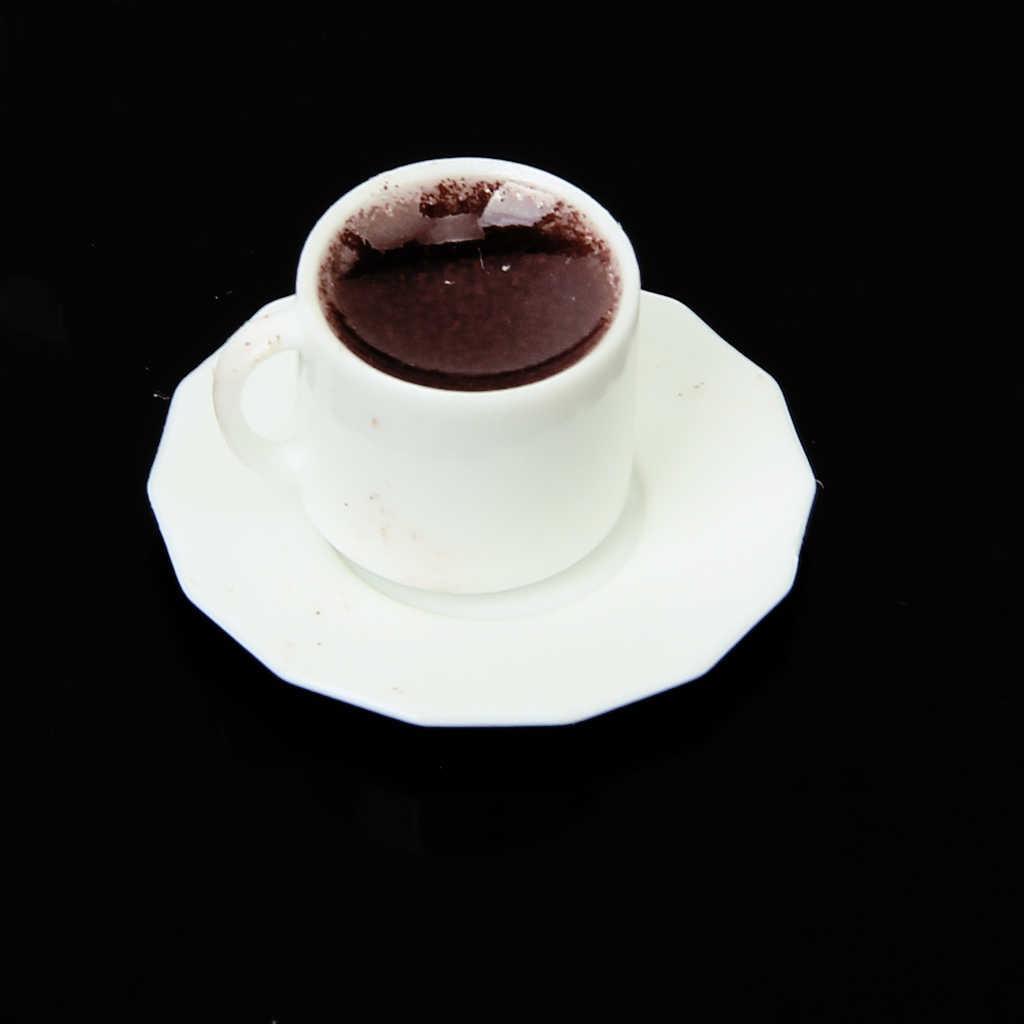 1/12 Dollhouse Miniature 2 ถ้วยสีดำกาแฟจานรองแผ่นชุดคลาสสิก Pretend เล่นของเล่นของขวัญเด็กเด็ก