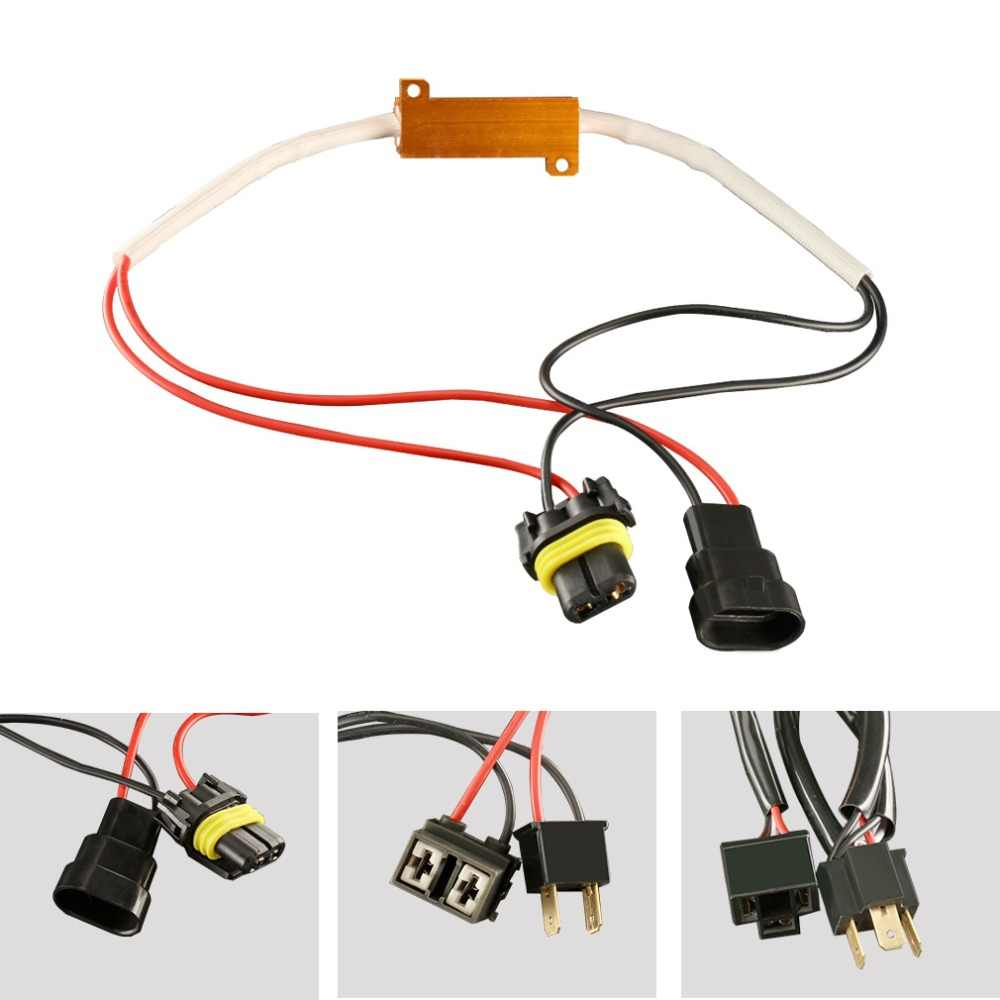 2pcs Car Resistor Canbus Cable 50W H4 H7 H8 H11 9005 HB3 9006 HB4 LED Bulb Decoder No Flickering Error Canceller Fix Blink Auto