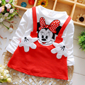 Baby Girls Summer Dress Cotton Full Sleeves Patchwork Cute Mouse O-neck Dress For Girls Casual Autumn Free Shipment Kids Dress