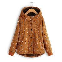 Plus Size M 5XL Women Hooded Jacket Lovely Cat Long Sleeve Casual Ladies Fleece Cotton Linen Coats 2018 Autumn Jacket Overcoats