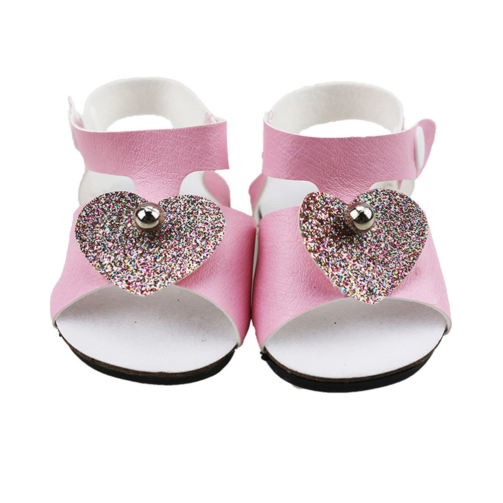 Pink Shoes For 18 Inch Doll Girl Heart Pearl Sandals Summer Doll For 43CM Baby Doll Accessories Girl Gift