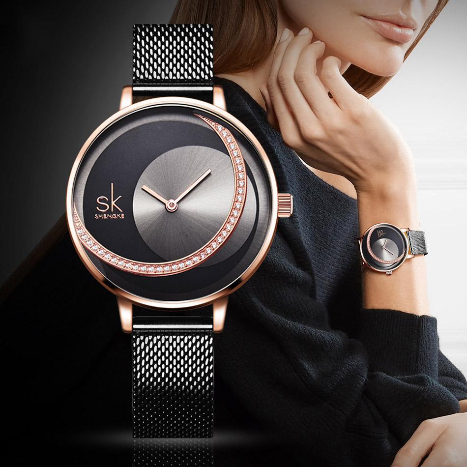 SK Shengke Rhinestone Watches For Women Brand Ladies Quartz Wrist Watch Reloj Mujer 2019 Luxury Stainless Steel Women Watch xfcs (1)