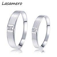 Lasamero Кольца для Для мужчин и Для женщин 0.057ct круглой огранки природных кольцо с бриллиантом пара Кольца 18 К белого золота Обручение Свадебны