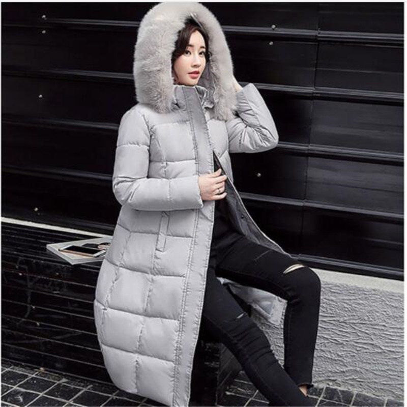 Women Winter Long   Down     Coat   2018 Fur Collar Fashion Hooded Duck Parkas Jacket Female Thick Warm Elegant Padded   Down     Coats